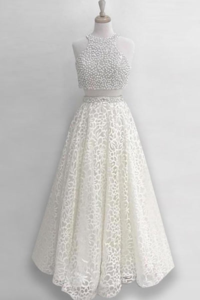 Two Piece Jewel Floor-Length Ivory Lace Prom Dress with Beading AHC516 | ballgownbridal