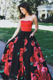 Honorable Strapless Prom Party Dress with Pockets Rose Printed PDA260 | ballgownbridal