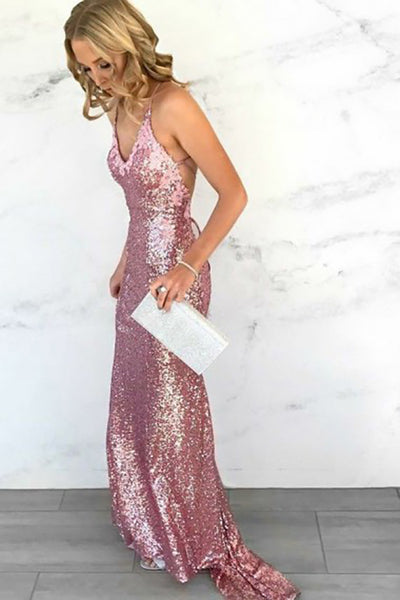 Mermaid Deep V-Neck Criss-Cross Straps Sweep Train Pink Sequines Prom Dress LR317