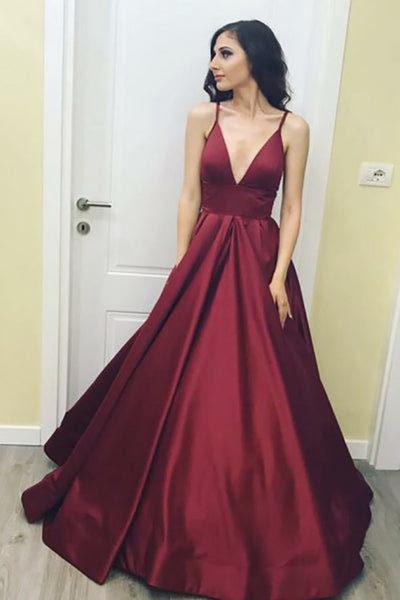 A-Line Deep V-Neck Sweep Train Burgundy Satin Backless Prom Dress AHC510