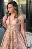 A-Line Deep V-Neck Sweep Train Pink Lace Sleeveless Backless Prom Dress with Beading LR87