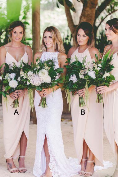 Sheath Spaghetti Straps Ankle-Length Asymmetrical Pink Chiffon Bridesmaid Dress AHC637 | ballgownbridal