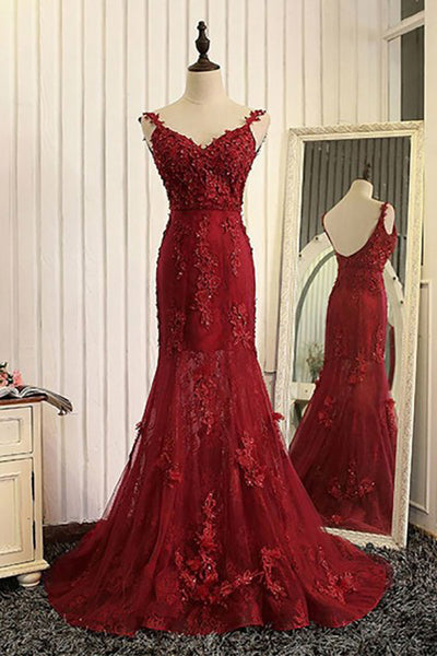 Mermaid V-Neck Sweep Train Dark Red Tulle Prom Dress with Appliques Beading LR356
