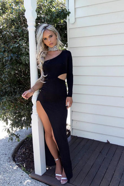 Sheath One-Shoulder Long Sleeve Black Cut Out Long Split Prom Dress PDA379 | ballgownbridal