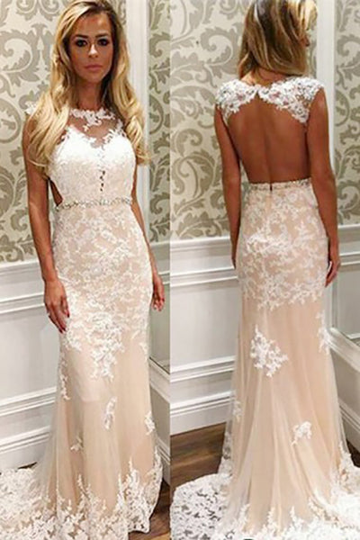 Mermaid Jewel Sweep Train Open Back Cut Out Champagne Tulle Prom Dress with Appliques LR388 | ballgownbridal