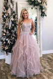 A-Line Sweetheart Floor-Length Lilac Tiered Prom Dress with Lace PDA368 | ballgownbridal