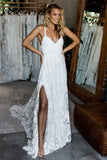 A-Line Deep V-Neck Criss-Cross Straps Court Train Split Ivory Lace Wedding Dress AHC593