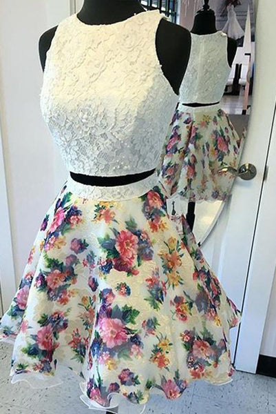 Two Piece Round Neck Ivory Printed Chiffon Homecoming Dress with Lace PDA079 | ballgownbridal