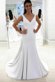Mermaid Deep V-Neck Sweep Train White Satin Backless Wedding Dress AHC575