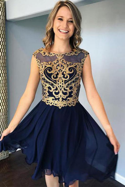 Stylish A Line Jewel Navy Blue Short Homecoming Dresses with Appliques PDA118 | ballgownbridal