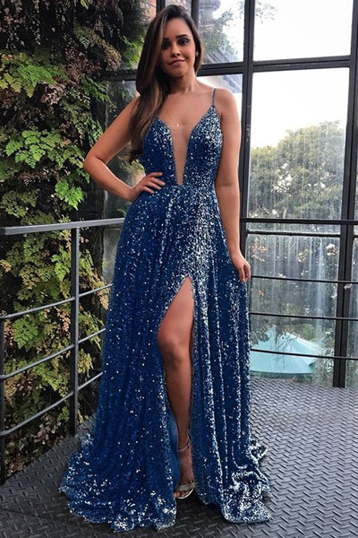 A-Line Spaghetti Straps Sweep Train Dark Blue Sequined Prom Evening Dress with Split PDA401 | ballgownbridal