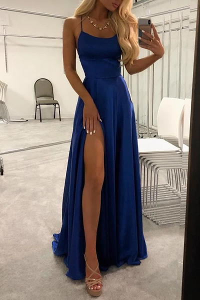 Simple Blue Spaghetti Straps Long Prom Dresses Evening Dress with Thigh Slit LR11