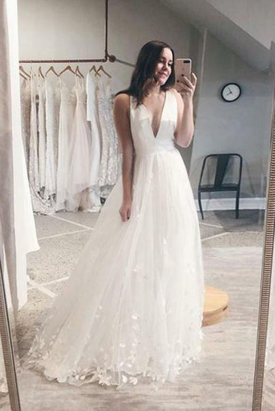 Simple Deep V Neck Wedding Dresses with Appliques PDA176 | ballgownbridal