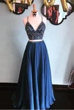 Two Pieces Prom Dresses Spaghetti Straps Beading Long Prom Dress Evening Dresses PDA432 | ballgownbridal
