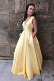 Light Yellow Satin V Neck Long Senior Prom Dress PDA515 | ballgownbridal