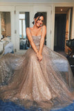 A-Line Straps Floor-Length Light Champagne Prom Evening Dress with Sequins PDA266 | ballgownbridal