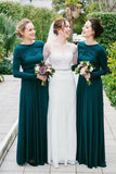 A-Line Crew Long Sleeves Floor-Length Dark Green Stretch Satin Bridesmaid Dress AHC614