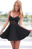 A-Line Spaghetti Straps Above-Knee Little Black Homecoming Dress with Lace PDA185 | ballgownbridal