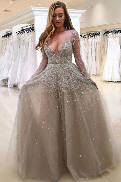 A-Line Deep V-Neck Long Sleeves Grey Tulle Prom Dress with Beading AHC533