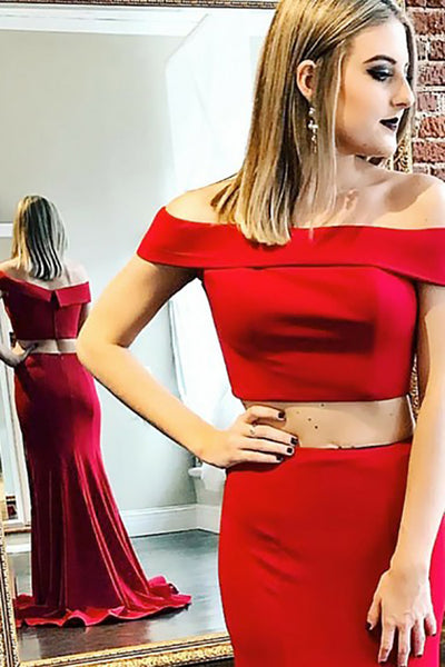 Two Piece Off-the-Shoulder Sweep Train Red Stretch Satin Sleeveless Prom Dress LR234