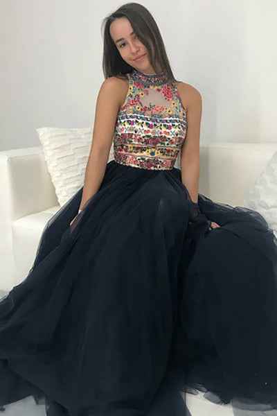 A-Line High Neck Sweep Train Navy Blue Tulle Prom Dress with Embroidery LR274