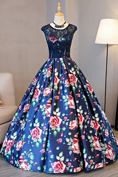 A-Line Crew Sweep Train Royal Blue Printed Satin Open Back Prom Dress with Lace LR269