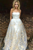 A-Line Sweetheart Sweep Train White Tulle Prom Dress with Appliques Pockets LR266