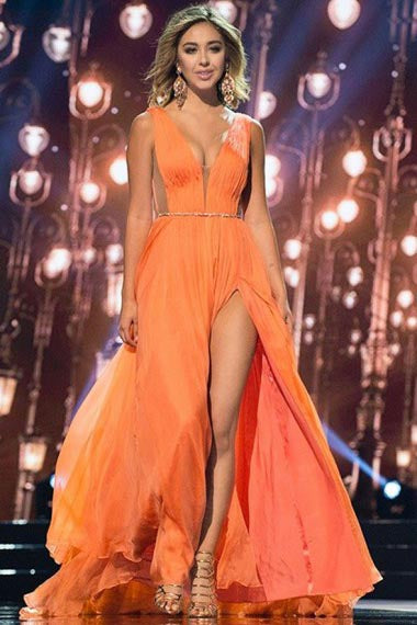 A-Line Deep V-Neck Sweep Train Orange Chiffon Prom Dress with Sash AHC692 | ballgownbridal
