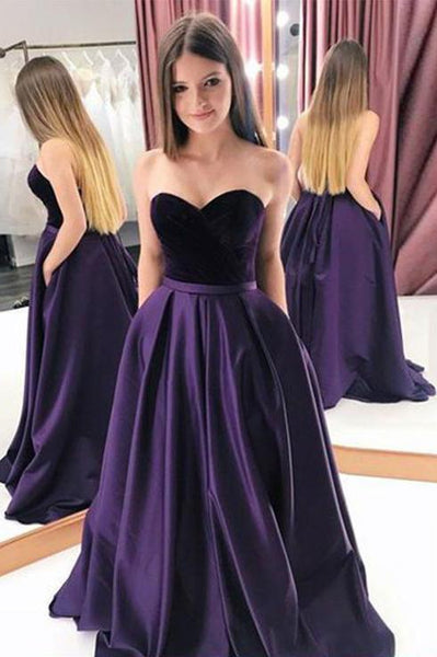 Purple Satin Velvet Strapless Long Pageant Prom Dress PDA511 | ballgownbridal