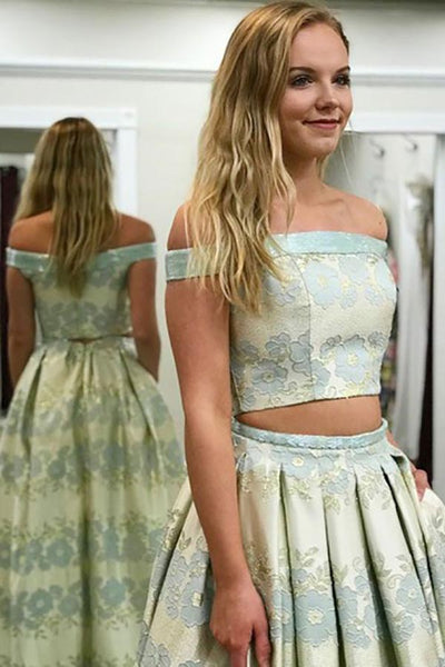 Two Piece Off-the-Shoulder Sweep Train Mint Printed Satin Prom Dress with Pockets LR124