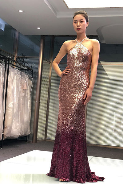 Mermaid Cross Neck Ombre Long Prom Dress Open Back Sequined Evening  PDA415 | ballgownbridal