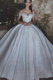 Ball Gown Off-the-Shoulder Court Train Ivory Satin Wedding Dress with Appliques AHC580