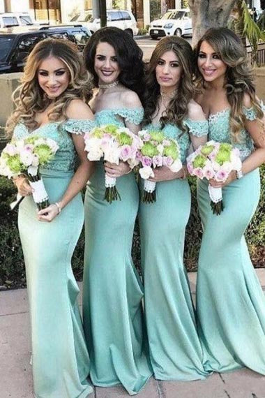 Mermaid Off-the-Shoulder Sweep Train Green Satin Bridesmaid Dress with Lace AHC651 | ballgownbridal