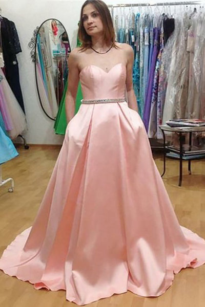 A-Line Sweetheart Sweep Train Pink Satin Sleeveless Prom Dress with Beading Pockets LR390 | ballgownbridal
