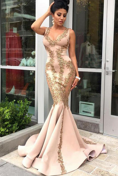 Mermaid V Neck Champagne Satin Long Prom Evening Dresses with Appliques PDA234 | ballgownbridal
