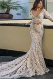 Mermaid Deep V-Neck Court Train Long Sleeves White Lace Beaded Wedding Dress  AHC558