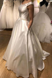 White Satin Round Neck Long A Line Prom Dress PDA505 | ballgownbridal