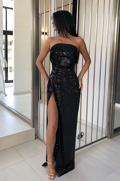 Sheath Strapless Floor-Length Black Sequined Prom Dress with Split PDA533 | ballgownbridal
