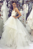 Gorgeous A Line V Neck White Tulle Long Wedding Dresses 2020 PDA180 | ballgownbridal
