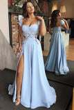 A-Line Scoop Cap Sleeves Floor-Length Light Blue Prom Dress with Appliques Split PDA252 | ballgownbridal