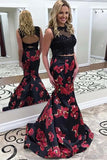 Two Piece Jewel Sweep Train Black Printed Satin Open Back Prom Dress with Appliques LR103