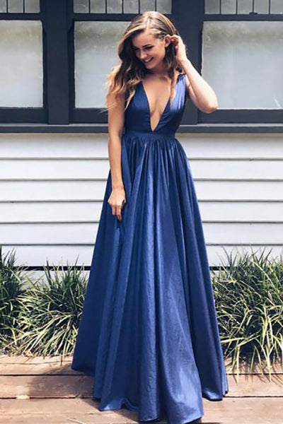 A-Line Deep V-Neck Sweep Train Royal Blue Chiffon Backless Prom Dress LR288