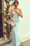 Mermaid Spaghetti Straps Floor-Length Blue Prom Dress with Ruched PDA460 | ballgownbridal