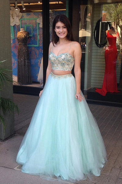 Two Piece Spaghetti Floor-Length Mint Prom Dress with Beading LR43
