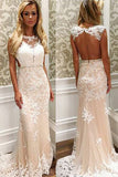 Mermaid Jewel Sweep Train Open Back Cut Out Champagne Tulle Prom Dress with Appliques LR388