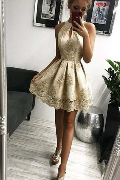 Champagne Short Homecoming Dresses Jewel Appliques with Keyhole PDA145 | ballgownbridal