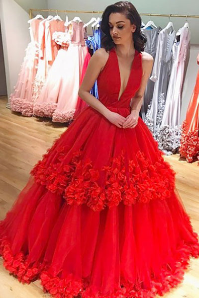 A-Line Deep V-Neck Red Tulle Sleeveless Prom Dress with Flowers Ruffles LR259