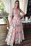 A-Line Deep V-Neck Floor-Length Pink Printed Lace Sleeveless Prom Dress LR281