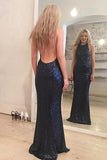 Mermaid Jewel Floor-Length Sleeveless Backless Navy Blue Sequined Prom Dress AHC662 | ballgownbridal
