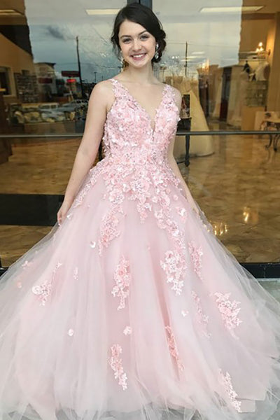 A-Line Deep V-Neck Sweep Train Pink Tulle Open Back Prom Dress with Appliques LR100
